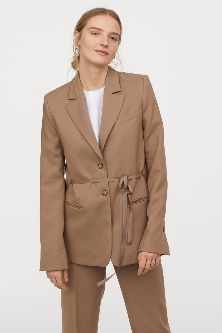 ウエストリボン ウールジャケット H&M