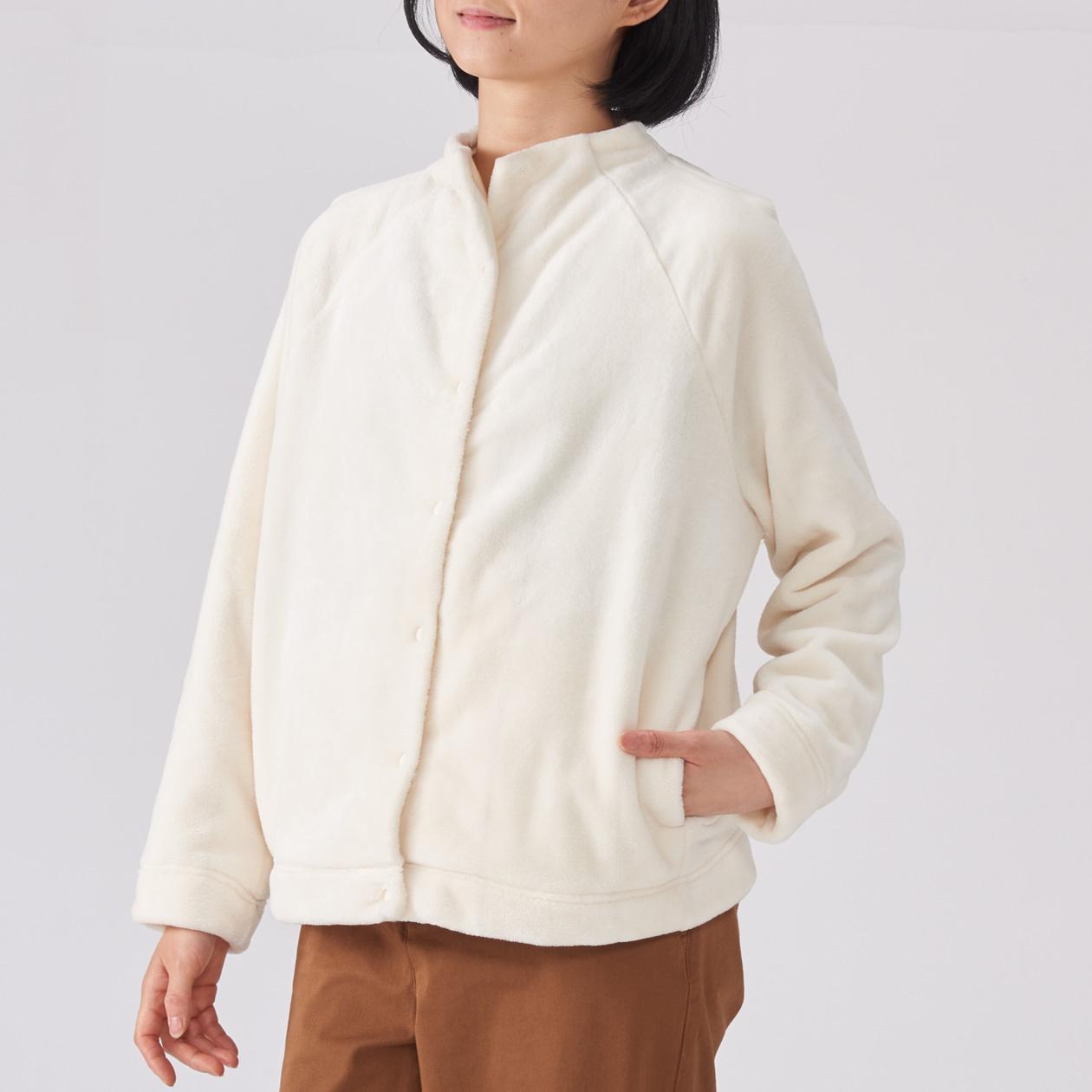 あたたかファイバー着る毛布ノーカラージャケット MUJI